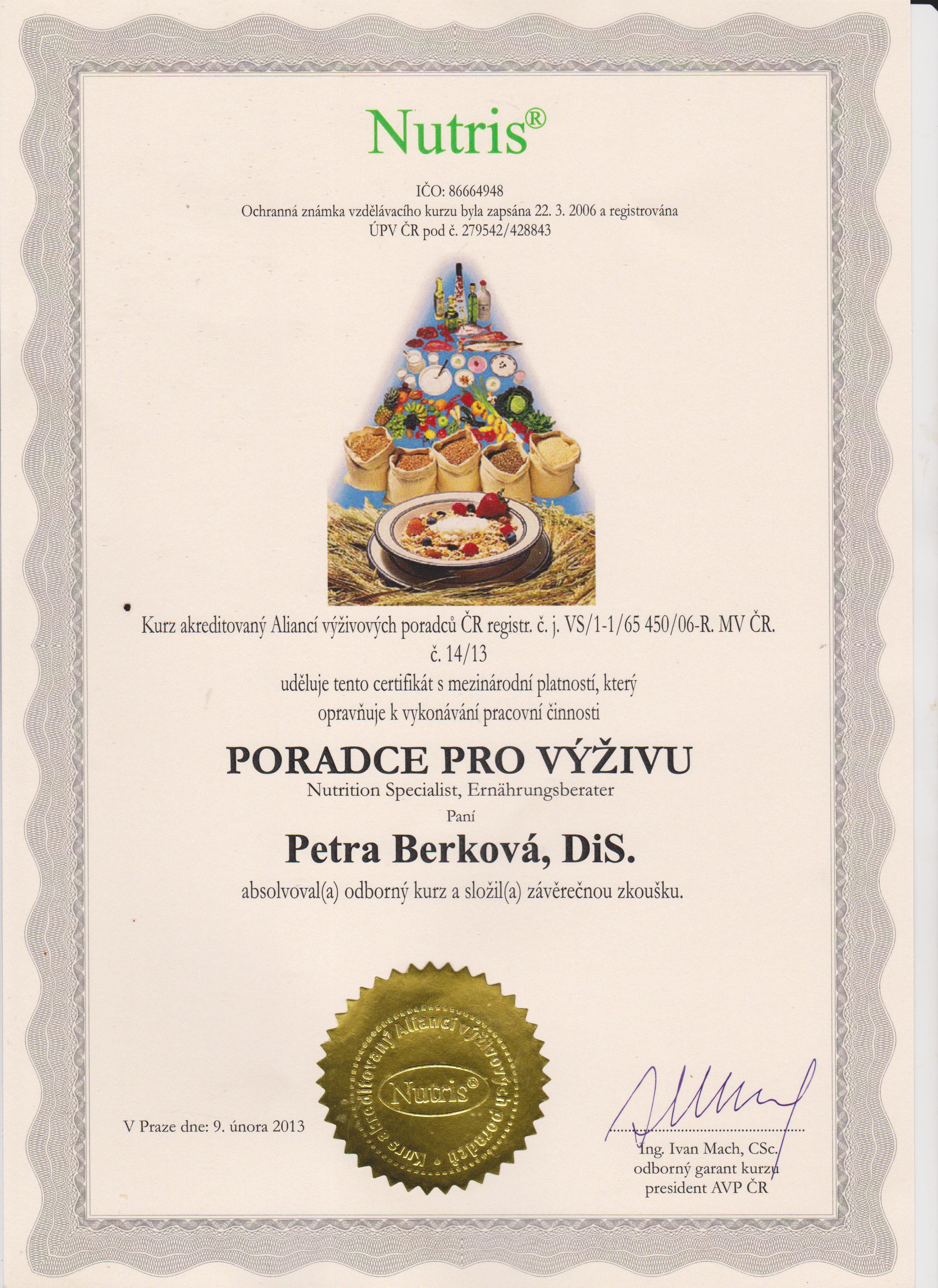 certifikát NUTRIS